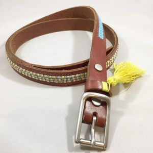 Lucky Brand Beaded Leather Belt